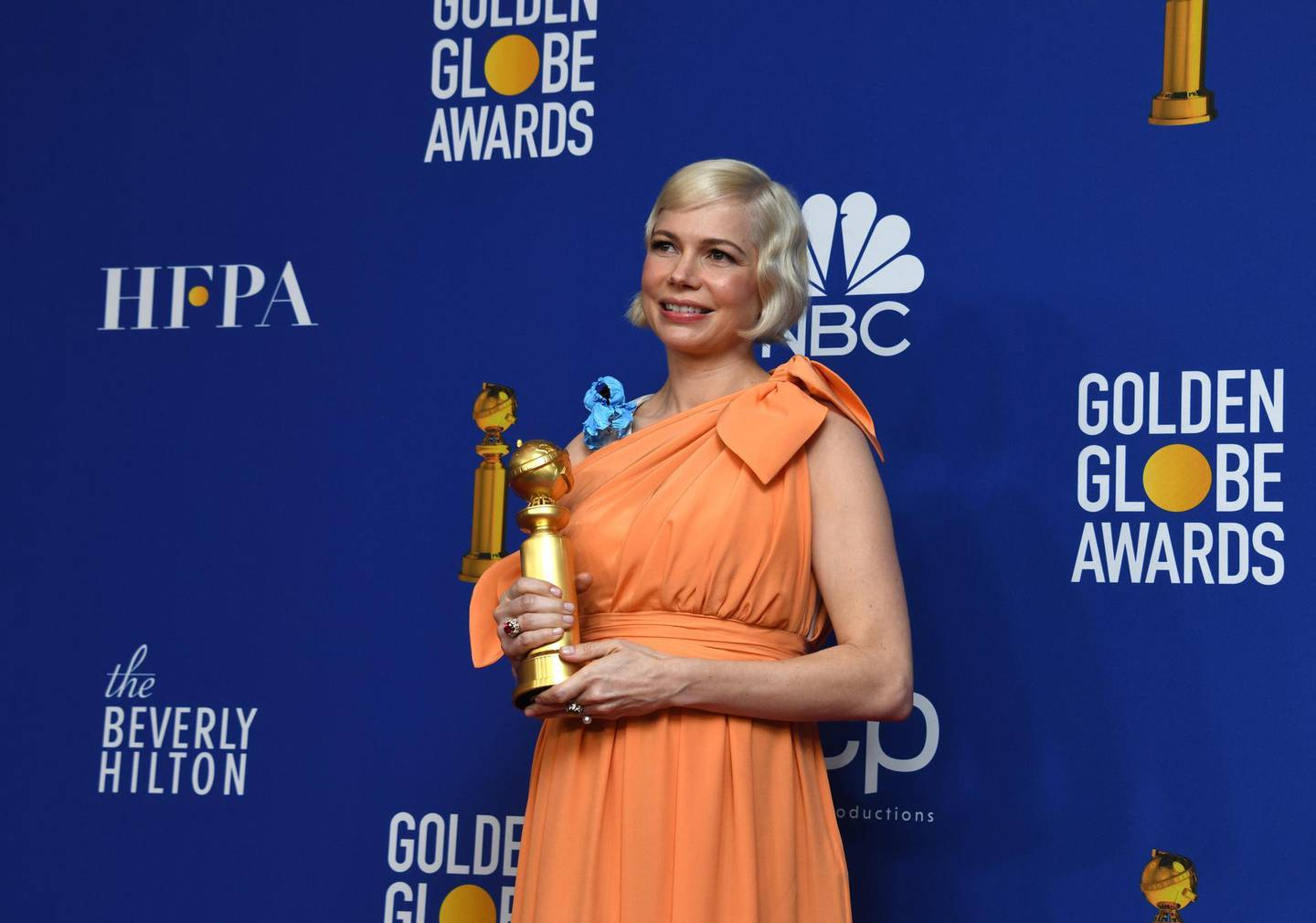 epa08106372 Michelle Williams holds the award for Best Performance by an actress in a Limited Series or a Motion Picture Made for Television for 'Fosse/Verdon' in the press room during the 77th annual Golden Globe Awards ceremony at the Beverly Hilton Hotel, in Beverly Hills, California, USA, 05 January 2020.  EPA/CHRISTIAN MONTERROSA