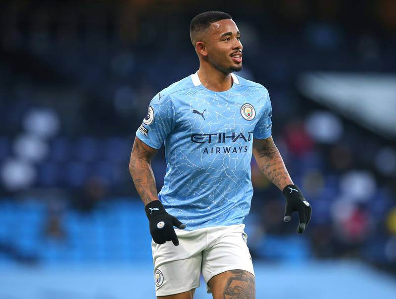 MANCHESTER, ENGLAND - DECEMBER 05:  Gabriel Jesus of Manchester City looks on during the Premier League match between Manchester City and Fulham at Etihad Stadium on December 05, 2020 in Manchester, England. (Photo by Alex Livesey/Getty Images)