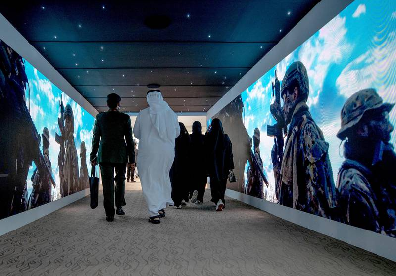 Abu Dhabi, United Arab Emirates, February 22, 2021.  Idex 2021 Day 2.Visitors at the exhibition.Victor Besa / The NationalSection:  NA