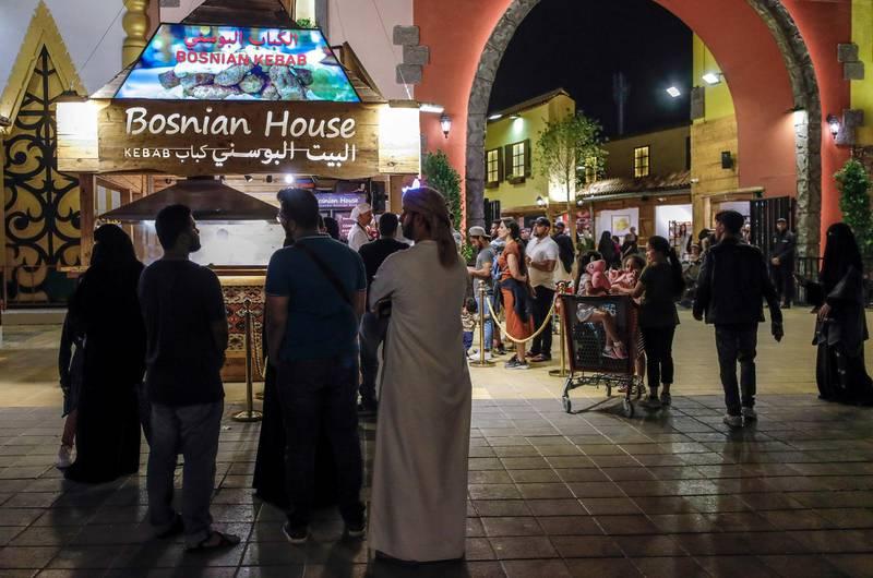 Abu Dhabi, United Arab Emirates, January 5, 2020.  Photo essay of Global Village.--    Bosnian House Kebab.Victor Besa / The NationalSection:  WKReporter:  Katy Gillett