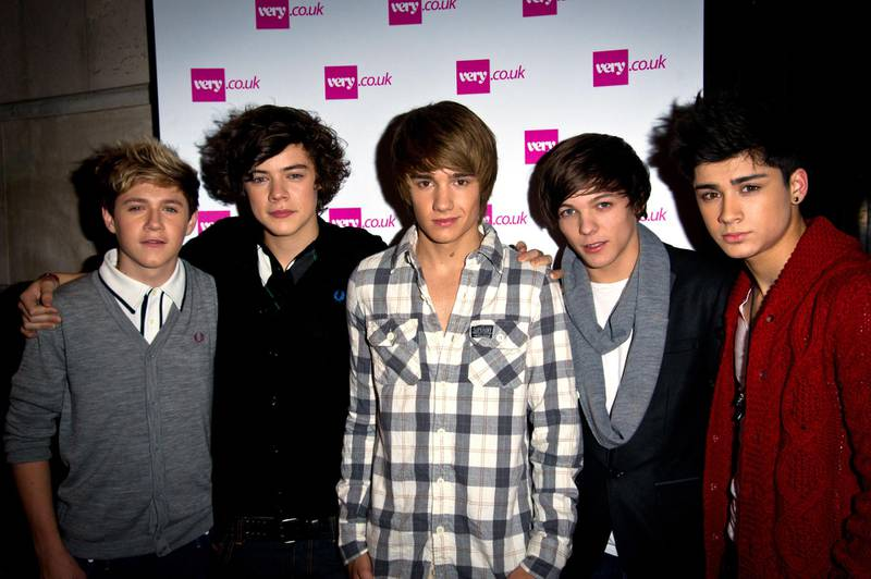 LONDON, ENGLAND - NOVEMBER 24:  (L-R) Niall Horan, Harry Styles, Liam Payne, Zain Malik and Louis Tomlinson of 'One Direction' attends the Very.co.uk Christmas Catwalk Show at Victoria House on November 24, 2010 in London, England.  (Photo by Ian Gavan/Getty Images)
