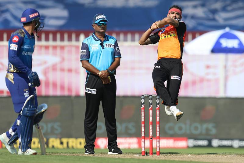 Siddarth Kaul of Sunrisers Hyderabad bowls during match 17 of season 13 of the Dream 11 Indian Premier League (IPL) between the Mumbai Indians and the Sunrisers Hyderabad held at the Sharjah Cricket Stadium, Sharjah in the United Arab Emirates on the 4th October 2020. Photo by: Deepak Malik  / Sportzpics for BCCI