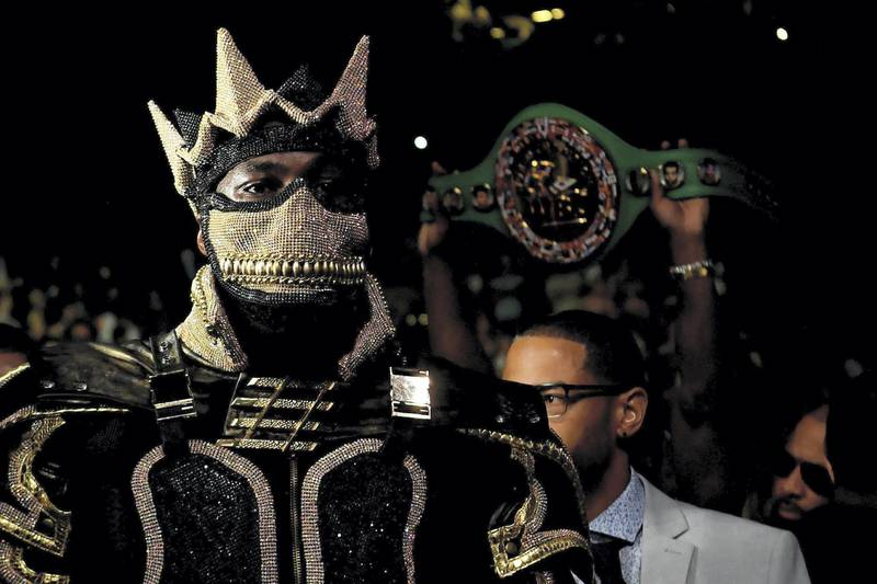 May 18, 2019; Brooklyn, NY, USA; Deontay Wilder enters the ring prior to fighting Dominic Breazeale in a world heavyweight championship boxing match at Barclays Center. Mandatory Credit: Sarah Stier-USA TODAY Sports