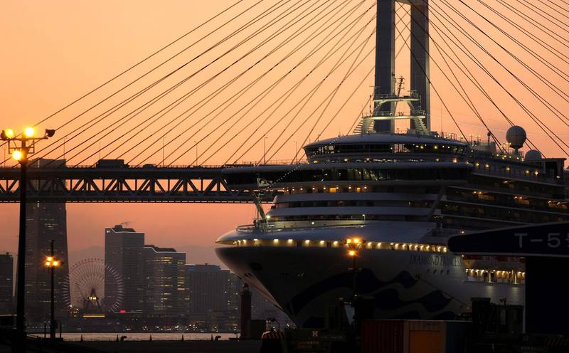 A general view shows the quarantined Diamond Princess cruise ship at Daikoku pier cruise terminal in Yokohama on February 24, 2020. Despite a quarantine imposed on the Diamond Princess, more than 600 people on board tested positive for the coronavirus, with several dozen in serious condition. / AFP / Kazuhiro NOGI