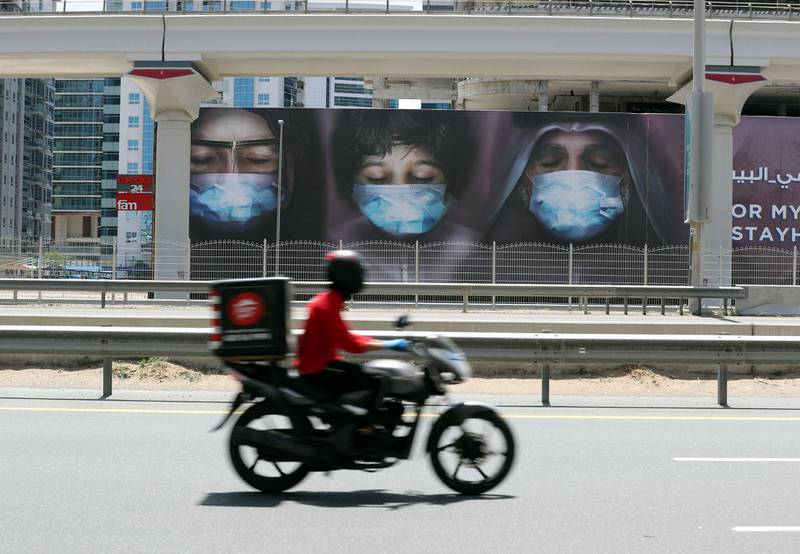 Dubai, United Arab Emirates - Reporter: N/A: Photo Project. Artist Maitha Demithan has her work show all over Dubai to encourage people to stay at home. Thursday, April 15th, 2020. Internet City on Sheikh Zayed Road, Dubai. Chris Whiteoak / The National