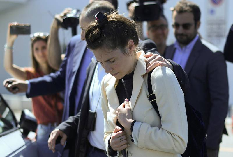 Amanda Knox, a former American student who was accused and then acquitted of the murder of her roommate British student Meredith Kercher and visits Italy for the first time since those events to speak at the Criminal Justice Festival, arrives at Milan's Linate airport, Italy, June 13, 2019. REUTERS/Daniele Mascolo     TPX IMAGES OF THE DAY