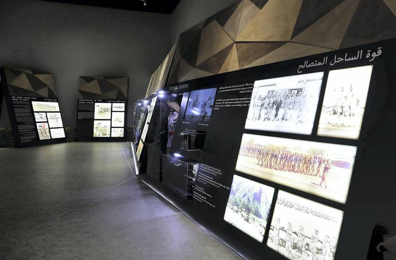 DUBAI , UNITED ARAB EMIRATES , JAN 25 – 2018 :-  Rare photos on display at the UAE Armed Forces Exhibition held at Etihad Museum in Dubai. (Pawan Singh / The National) For Arts & Life. Story by John Dennehy
