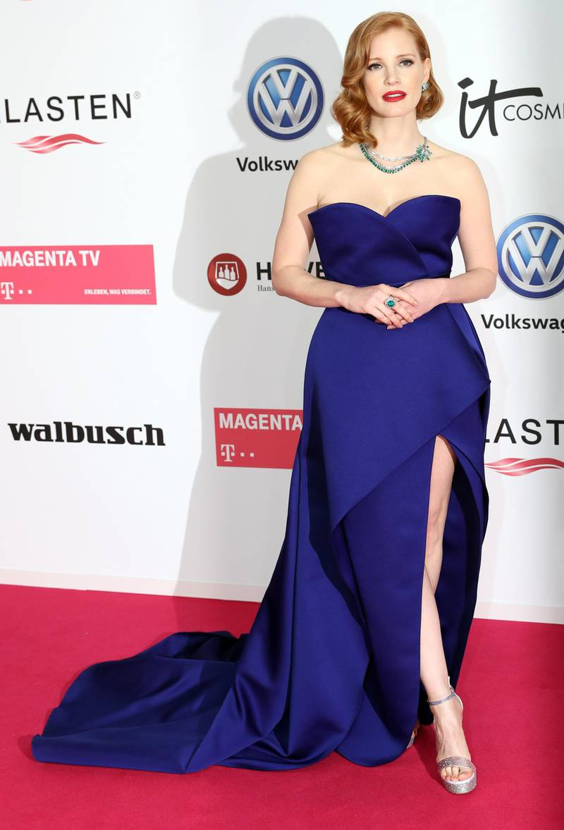 epa07474135 US actress Jessica Chastain arrives for the 54th annual 'Goldene Kamera' (Golden Camera) film and television awards ceremony in Berlin, Germany, 30 March 2019.  EPA-EFE/FELIPE TRUEBA