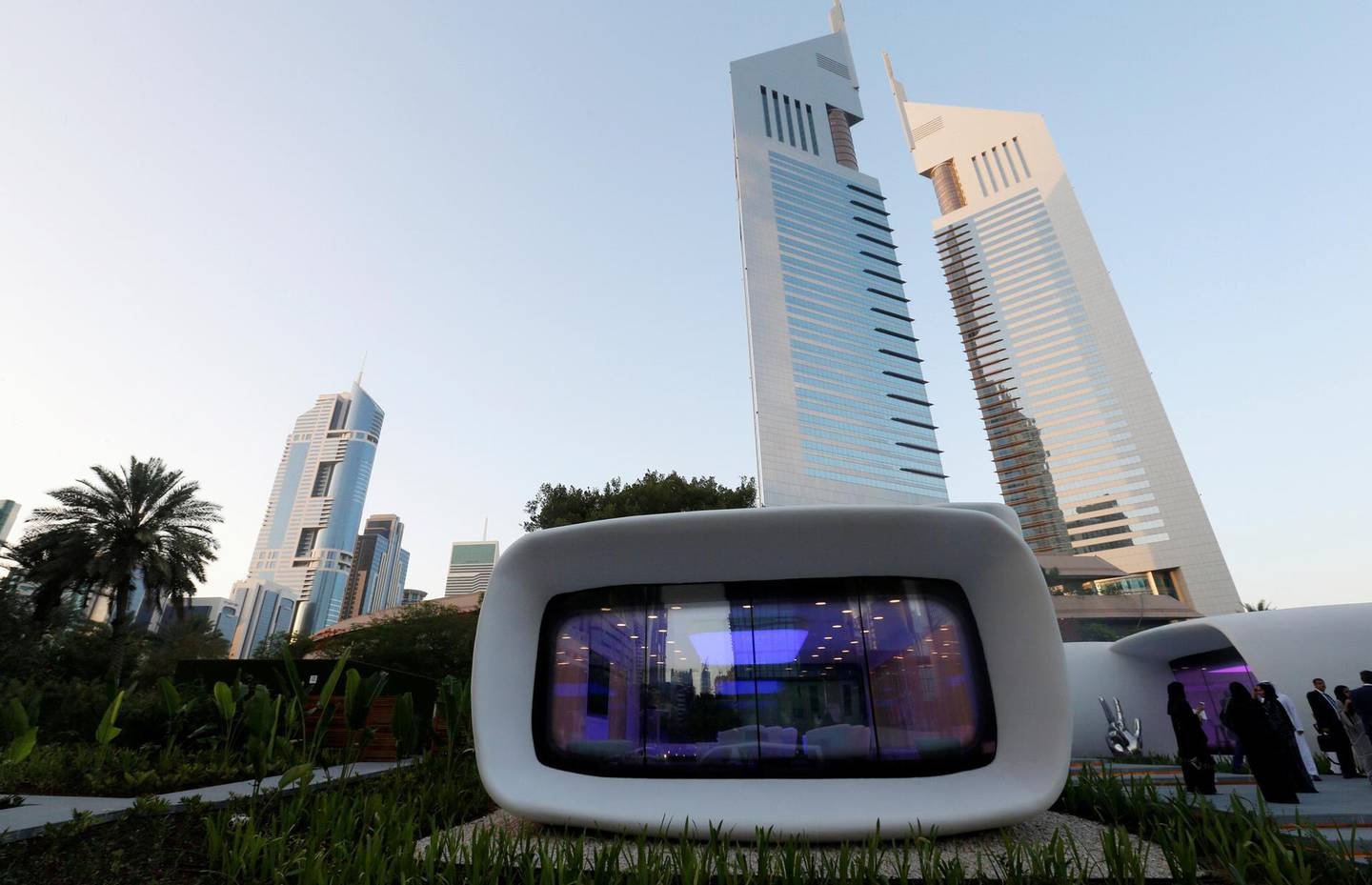 The world's first functional 3D printed offices are seen in Dubai May 23, 2016. REUTERS/Ahmed Jadallah - S1BETFWGFZAA