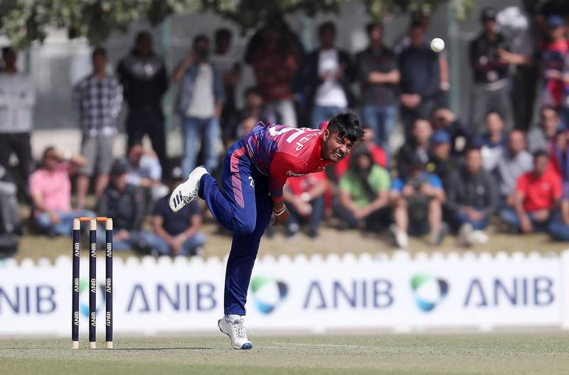 DUBAI , UNITED ARAB EMIRATES , January 28 – 2019 :- Sandeep Lamichhane of Nepal bowling during the one day international cricket match between UAE vs Nepal held at ICC cricket academy in Dubai. ( Pawan Singh / The National ) For Sports. Story by Paul