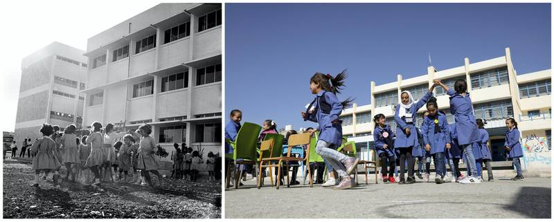 """A combination picture shows Palestinian refugee students playing in their schoolyard in Amman New camp, Jordan, in this handout picture believed to be taken in 1969. UNRWA/George Nehmeh/Handout via REUTERS (L) and Palestinian refugee schoolchildren playing at one of the UNRWA schools in Amman New camp (al Wehdat), in Amman, Jordan, September 26, 2019. REUTERS/Muhammad Hamed  ATTENTION EDITORS - THIS IMAGE WAS PROVIDED BY A THIRD PARTY. NO RESALES. NO ARCHIVES SEARCH """"UNRWA COMBOS"""" FOR THIS STORY. SEARCH """"WIDER IMAGE"""" FOR ALL STORIES."""