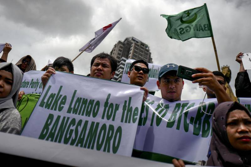 MANILA, PHILIPPINES - JULY 11: Muslim and Christian activists hold a picket during the bicameral talks between Philippine senate and congress that would determine the fate the Muslim community's long time bid for self-governance and self-determination, on July 11, 2018 in Manila, Philippines. The Musilm separatist group, Moro Islamic Liberation Front and the government in the latest peace accord last 2014, had agreed on a comprehensive agreement that would ultimately be drafted and signed into law that gives the MILF and its Muslim constiruents an extended autonomy compared to the existing autonomous governance first setup by the government and preceding rebel group, the MNLF. Moro Islamic Liberation Front chief negotiator Mohagher Iqbal said that this agreement is the only political solution the Moro problem that has resulted to nearly half a century of conflict in the southern Philippines.  (Photo by Jes Aznar/Getty Images)