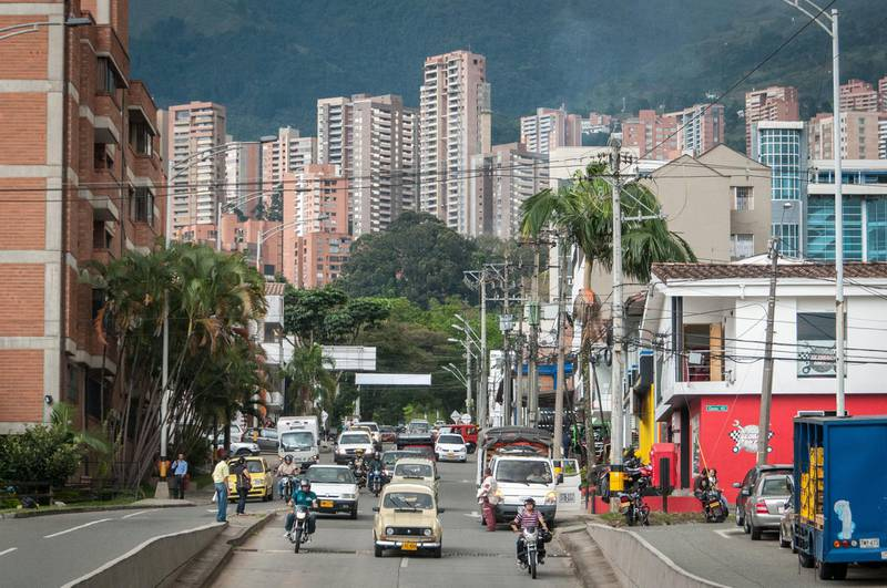 Traffic in a major road way of Medellin, Colombia, on 17 January 2012. (Photo by Diego Cupolo/NurPhoto via Getty Images)