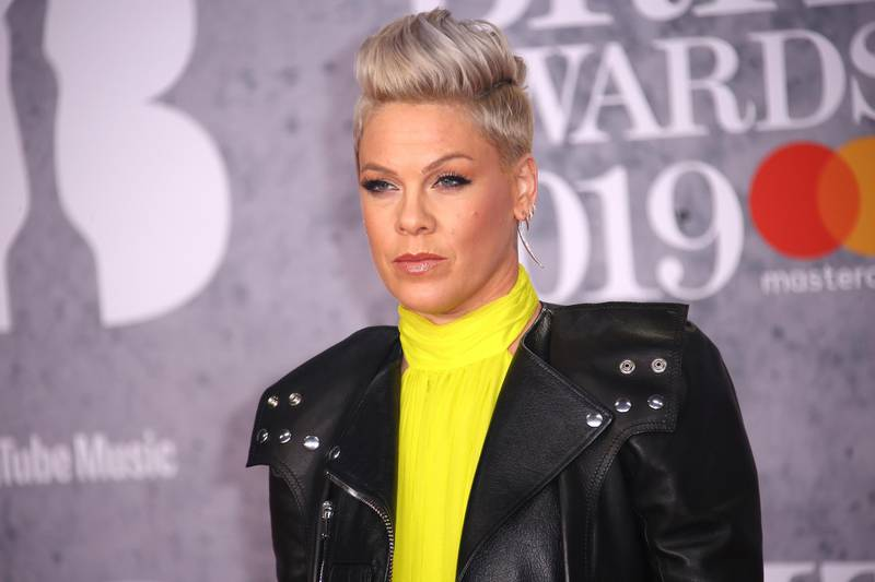 Singer Pink poses for photographers upon arrival at the Brit Awards in London, Wednesday, Feb. 20, 2019. (Photo by Joel C Ryan/Invision/AP)