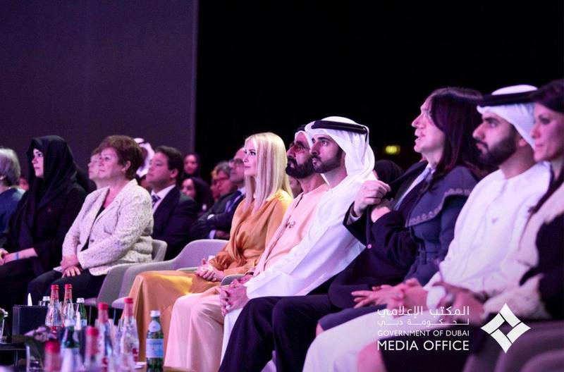 Mohammed bin Rashid, accompanied by Hamdan bin Mohammed and IIvanka Trump, daughter and advisor to the President of the United States Donald Trump, while attending the official opening of the Women's forum , which is organized by the Dubai Women's Foundation. courtsey: Dibai Media office twitter account