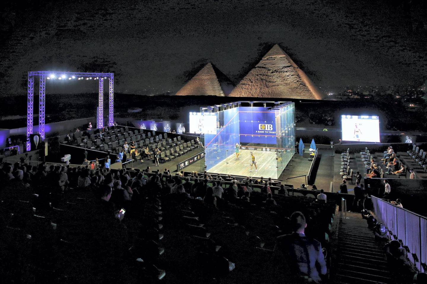The Egypt International Squash Championship held in the pyramids area in Giza, Egypt, on 14 October 2020. (Photo by Ziad Ahmed/NurPhoto via Getty Images)