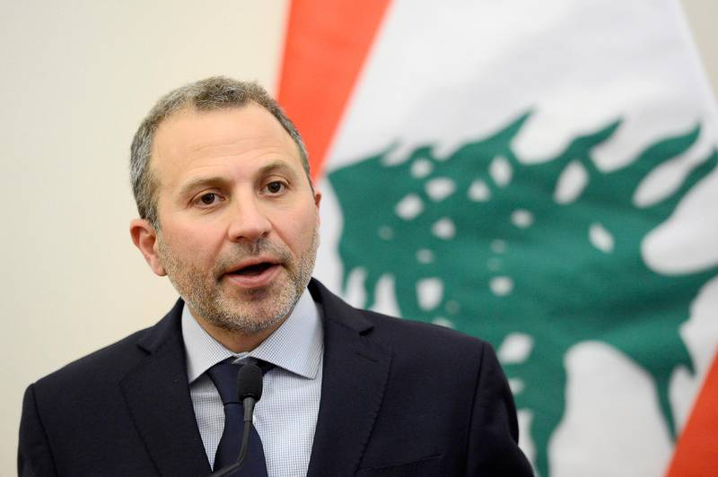 """epa08803653 (FILE) - Lebanese Foreign Minister Gebran Bassil speaks during his meeting with his Hungarian counterpart in Budapest, Hungary, 26 November 2019 (reissued 06 November 2020). The US imposed sanctions on Gebran Bassil over """"systemic corruption in Lebanon's political system exemplified by Bassil,"""" US Treasury Secrtary Mnuchin announced on 06 November 2020.  EPA/Tamas Kovacs HUNGARY OUT HUNGARY OUT *** Local Caption *** 55663378"""