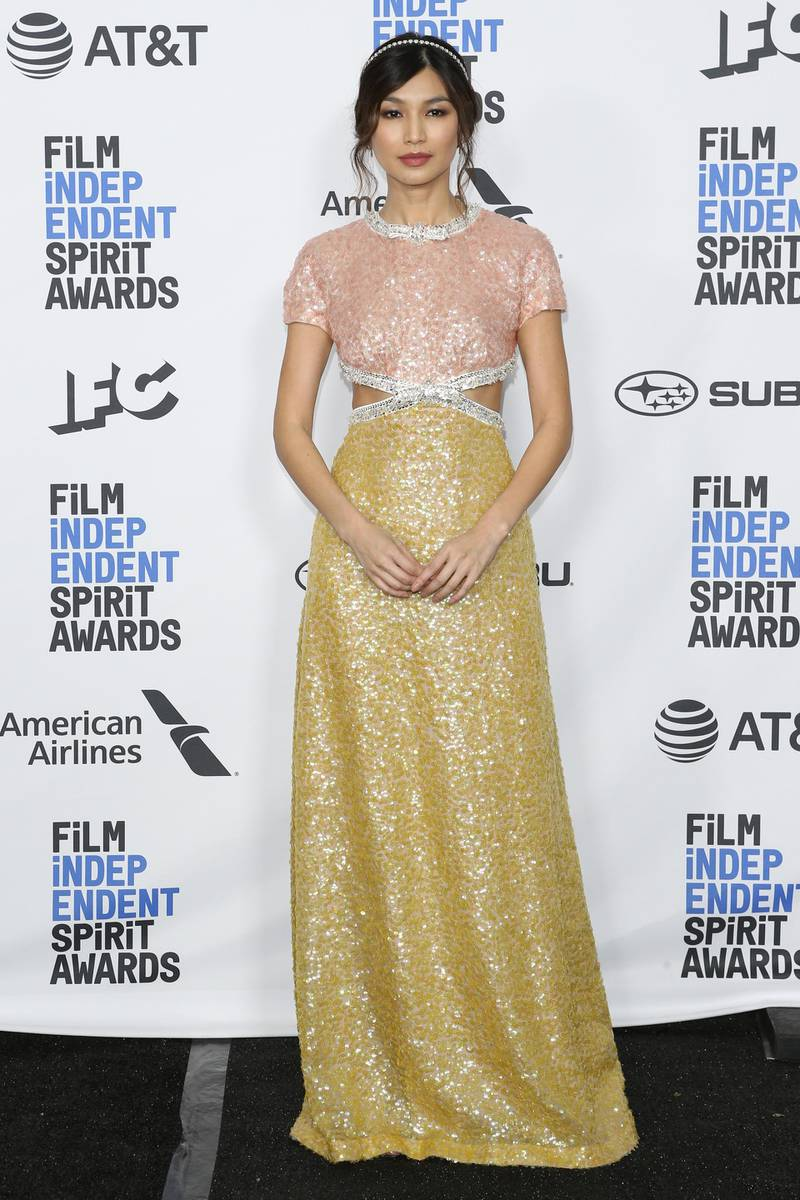 epa07391754 Gemma Chan poses in the press room for the 2019 Independent Spirit Awards in Santa Monica, California, USA, 23 February 2019. The award ceremony, organized by the non-profit organization Film Independent, honors the finest independent films of the preceding year.  EPA-EFE/NINA PROMMER