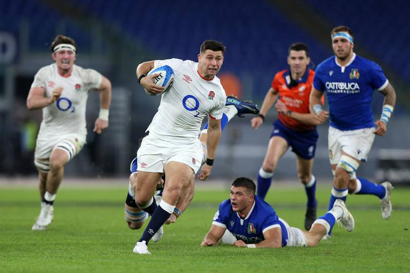 ROME, ITALY - OCTOBER 31: Ben Youngs of England makes a break to score his sides second try  during the 2020 Guinness Six Nations match between Italy and England at Olimpico Stadium on October 31, 2020 in Rome, Italy. Sporting stadiums around Italy remain under strict restrictions due to the Coronavirus Pandemic as Government social distancing laws prohibit fans inside venues resulting in games being played behind closed doors. (Photo by Paolo Bruno/Getty Images)