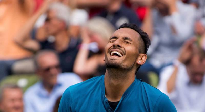 Nick Kyrgios reacts during the match against Maximilian Marterer at the ATP Mercedes Cup tournament in Stuttgart, Germany, Thursday, June 14, 2018. (Marijan Murat/dpa via AP)