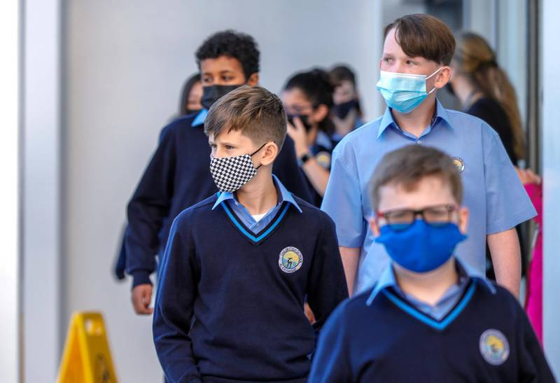 Abu Dhabi, United Arab Emirates, February 16, 2021.  Pupils return to school on Sunday at British School Al Khubairat.Victor Besa/The NationalReporter:  Haneen DajaniSection:  NA
