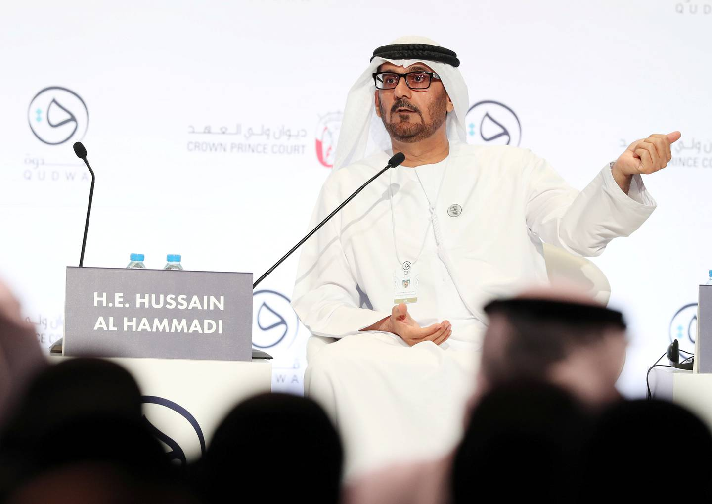 Abu Dhabi, United Arab Emirates - October 06, 2019: H.E. Hussain Ibrahim Al Hammadi, Minister of Education speaks in the opening plenary Teaching for Global Competence. Qudwa is a forum for teachers, by teachers that aims to elevate the teaching profession in the UAE. Sunday the 6th of October 2019. Manarat Al Saadiyat, Abu Dhabi. Chris Whiteoak / The National