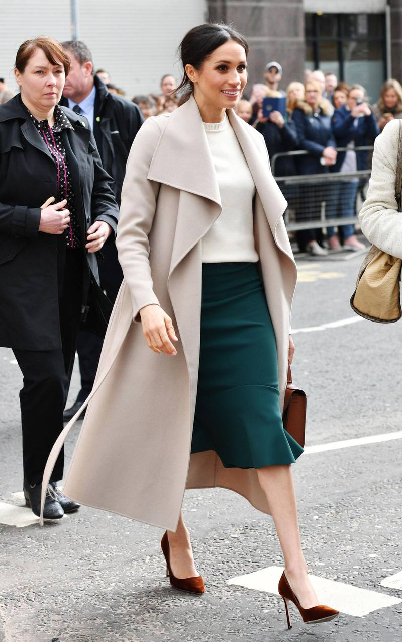 BELFAST, NORTHERN IRELAND - MARCH 23:  Meghan Markle during a walkabout after visiting the Crown Liquor Saloon, a former Victorian gin palace owned by the National Trust, on March 23, 2018 in Belfast, Nothern Ireland.  (Photo by  Tim Rooke - Pool/Getty Images)