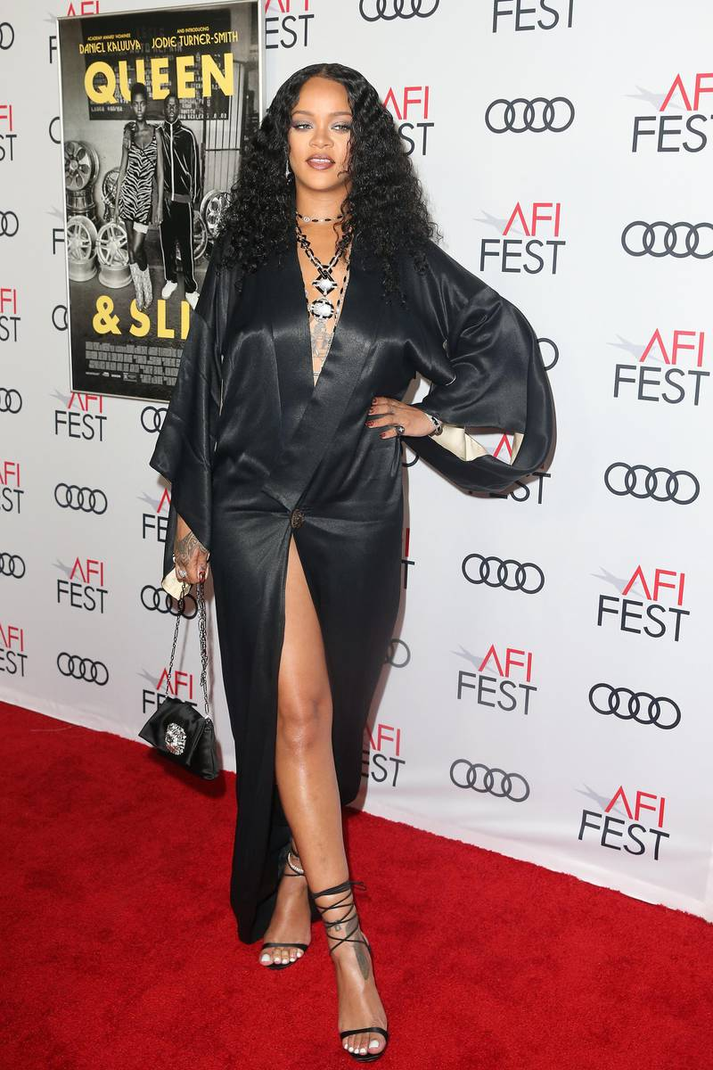 epa07998206 Barbadian music artist Rihanna arrives at the AFI Fest red carpet for the premiere of the movie 'Queen & Slim' at the TCL Chinese Theatre in Hollywood, Los Angeles, California, USA, 14 November 2019. The movie will be released in theaters on 27 November.  EPA-EFE/ADAM S DAVIS