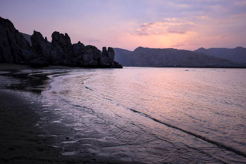 MUSCAT, SULTANATE OF OMAN - JANUARY 5, 2019. Yetti beach at sunset.(Photo by Reem Mohammed/The National)Reporter: Section:  NA