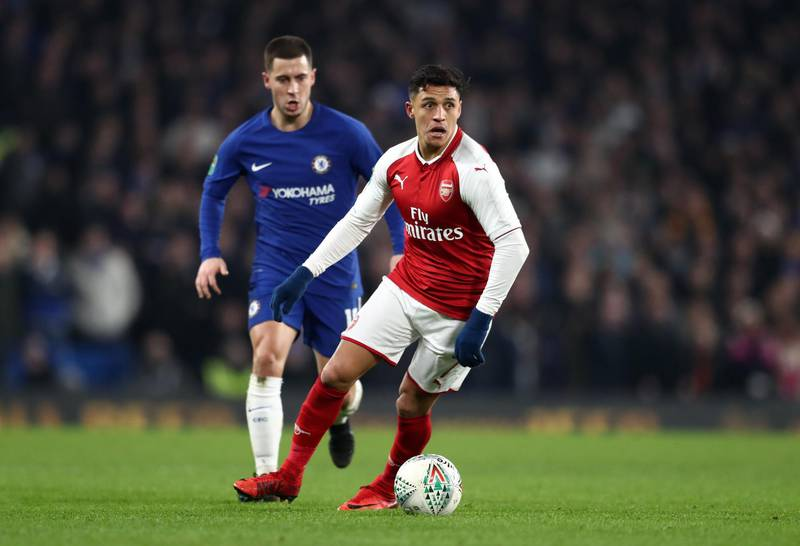 LONDON, ENGLAND - JANUARY 10: Alexis Sanchez of Arsenal during the Carabao Cup Semi-Final First Leg match between Chelsea and Arsenal at Stamford Bridge on January 10, 2018 in London, England. (Photo by Catherine Ivill/Getty Images)