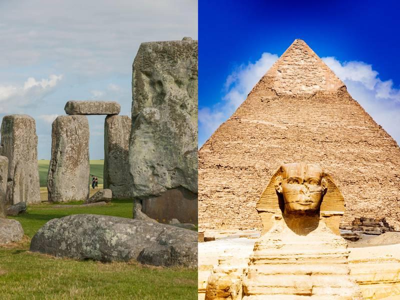 LEFT: United Kingdom, England, Stonehenge . Archeological ruins of StonehengeRIGHT: Pyramid of Khafre or of Chephren, The Sphinx, Unesco world Heritage site, Giza, Giza pyramid complex, Cairo, Egypt, North AfricaGetty Images