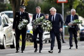 Boris Johnson lays flowers at site of UK MP's murder