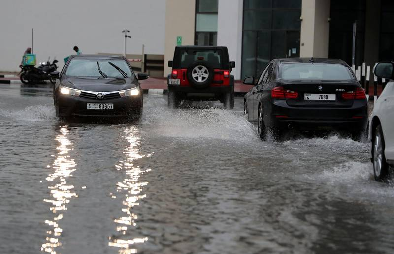 DUBAI, UNITED ARAB EMIRATES , March 22 – 2020 :- Water logged streets because of heavy rain in Al Barsha in Dubai. (Pawan Singh / The National) For News/Online/Instagram.
