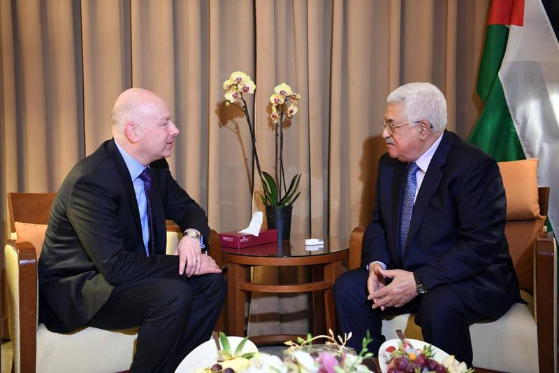 """AMMAN, JORDAN - MARCH 28: (----EDITORIAL USE ONLY  MANDATORY CREDIT - """"PALESTINIAN PRESIDENCY / THAER GHANAIM / HANDOUT"""" - NO MARKETING NO ADVERTISING CAMPAIGNS - DISTRIBUTED AS A SERVICE TO CLIENTS----) Palestinian President Mahmoud Abbas (R) meets with US President Donald Trump's Assistant and Special Representative for International Negotiations, Jason Greenblatt (R) as part of the 28th Arab League Summit in Amman, Jordan on March 28, 2017.      (Photo by Palestinian Presidency / Thaer Ghanaim / Handout/Anadolu Agency/Getty Images)"""