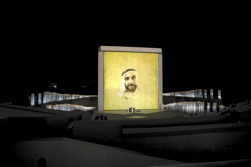 ABU DHABI, UNITED ARAB EMIRATES - February 26, 2018: A photograph of HH Sheikh Zayed bin Sultan bin Zayed Al Nahyan, President of the United Arab Emirates is displayed during the inauguration of The Founder's Memorial.  (  Hamad Al Mansoori for The Crown Prince Court - Abu Dhabi ) ---