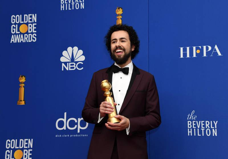 epa08106013 Ramy Youssef poses with the Best Performance by an Actor In a Television Series - Musical or Comedy award in the press room during the 77th annual Golden Globe Awards ceremony at the Beverly Hilton Hotel, in Beverly Hills, California, USA, 05 January 2020.  EPA/CHRISTIAN MONTERROSA
