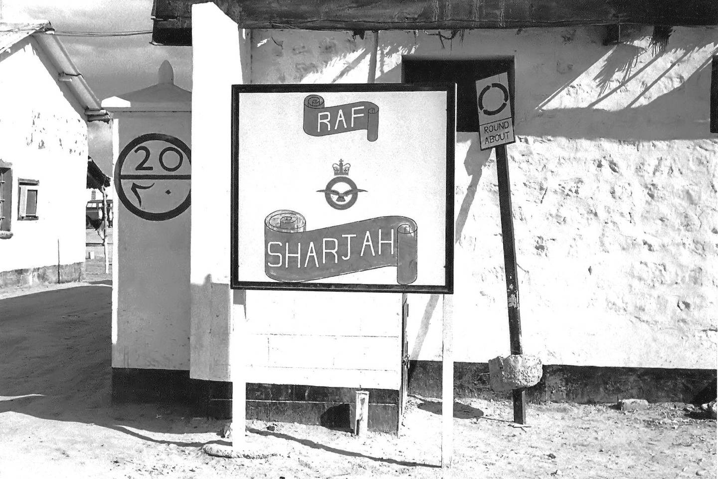 Archival photo showing Sharjah airbase in the 1960s. In 1963, the only indication that this was the main entrance to Sharjah Camp was the standard RAF sign FOR TIME FRAME / PLEASE ASK KAREN.MUST CREDIT Courtesy Taff John