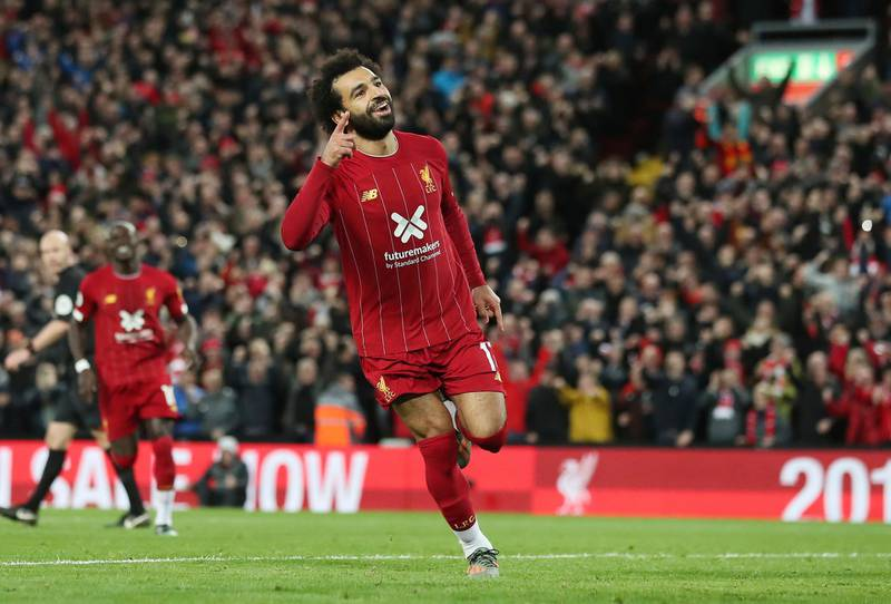 Mandatory Credit: Photo by Jon Super/AP/Shutterstock (10457691bb)Liverpool's Mohamed Salah celebrates after scoring his side's second goal during the English Premier League soccer match between Liverpool and Tottenham Hotspur at Anfield stadium in Liverpool, EnglandBritain Soccer Premier League, Liverpool - 27 Oct 2019