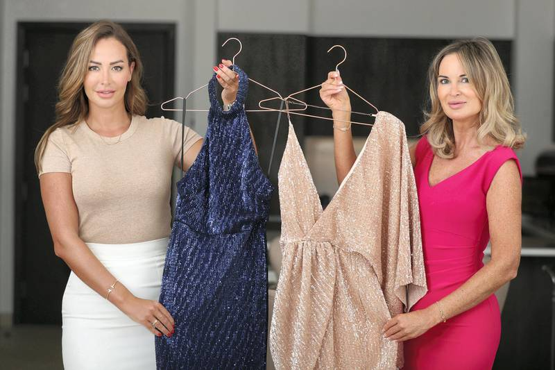Dubai, United Arab Emirates - December 10, 2020: Hannah Bradley (R) and Lisa Lazarus are founders of online fashion boutique Hi Maintenance. They are contributing to a Money/Business feature about companies that have launched during the pandemic. Thursday, December 10th, 2020 in Dubai. Chris Whiteoak / The National