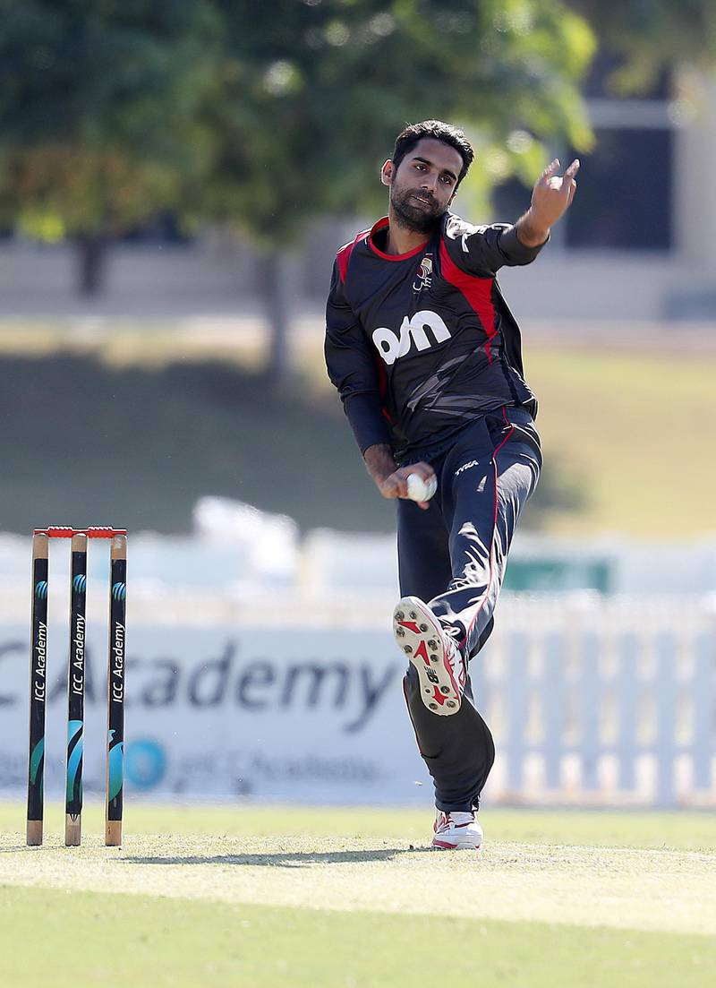 DUBAI , UNITED ARAB EMIRATES , JAN 11 – 2018 :- Qadeer Ahmed of UAE bowling during the one day international cricket match between UAE vs Ireland held at ICC Academy in Dubai Sports City in Dubai.  (Pawan Singh / The National) For Sports. Story by Paul Radley