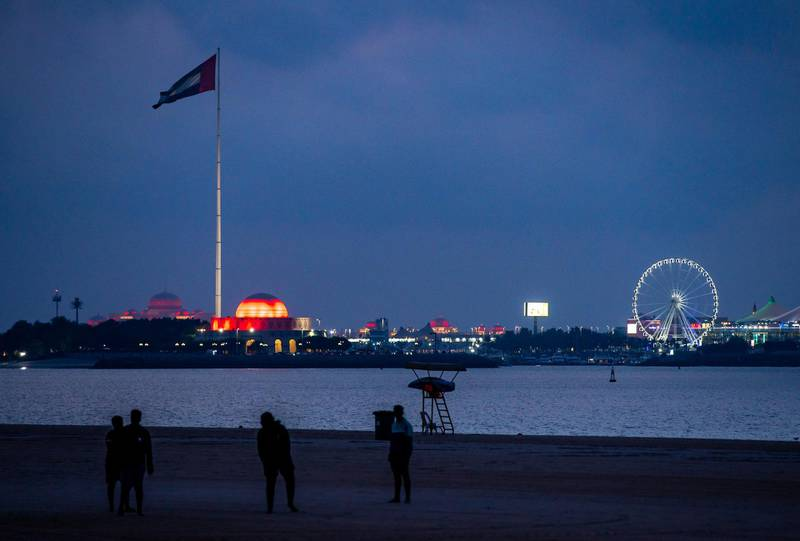 Abu Dhabi, United Arab Emirates, February 9, 2021.  The UAE Flag area on the Corniche lights up in red to show support for the success of the Hope probe going into orbit around Mars.  Victor Besa/The NationalSection:  NA