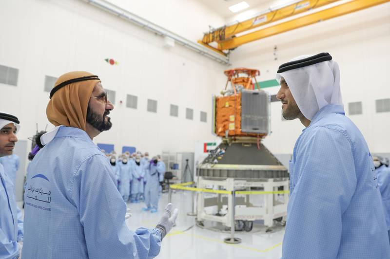 DUBAI, 3rd February, 2018 (WAM) -- Vice President and Prime Minister of the UAE and Ruler of Dubai His Highness Sheikh Mohammed bin Rashid Al Maktoum visited the Mohammed bin Rashid Space Centre (MBRSC) to inspect the progress of the KhalifaSat project. KhalifaSat is the first satellite to be fully built by Emirati engineers, an achievement that highlights the UAE's growing expertise in satellite technology. The satellite is set to be launched later this year, following a series of rigorous tests. Wam