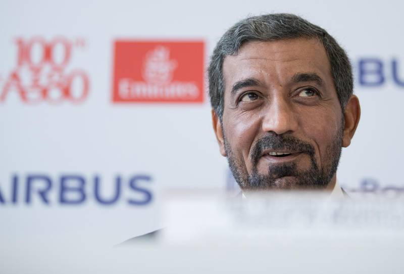 Sheikh Ahmed bin Saeed Al Maktoum, chief executive officer of Emirates Airlines, speaks during a news conference as Emirates take delivery of their 100th Airbus SE A380 aircraft in Hamburg, Germany, on Friday, Nov. 3, 2017. Airbus SE is working with Emirates, the biggest buyer of its A380 double-decker airliner, on a follow-up deal, which would bring much-needed relief to a program that's running out of orders as carriers pick smaller aircraft. Photographer: Jasper Juinen/Bloomberg