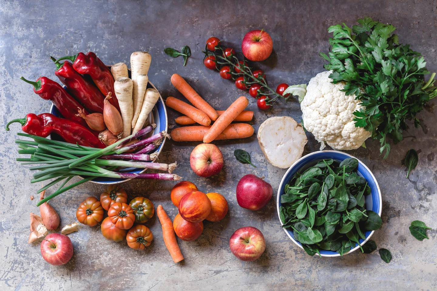 Fresh vegetables and fruits from weekly market