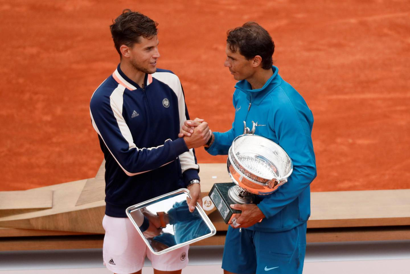 Tennis - French Open - Roland Garros, Paris, France - June 10, 2018   Spain's Rafael Nadal shakes hands with Austria's Dominic Thiem after winning their final   REUTERS/Gonzalo Fuentes