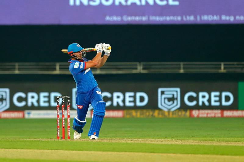 Marcus Stoinis of Delhi Capitals  hit the sixes  during match 2 of season 13 of Dream 11 Indian Premier League (IPL) between Delhi Capitals and Kings XI Punjab held at the Dubai International Cricket Stadium, Dubai in the United Arab Emirates on the 20th September 2020.  Photo by: Saikat Das  / Sportzpics for BCCI