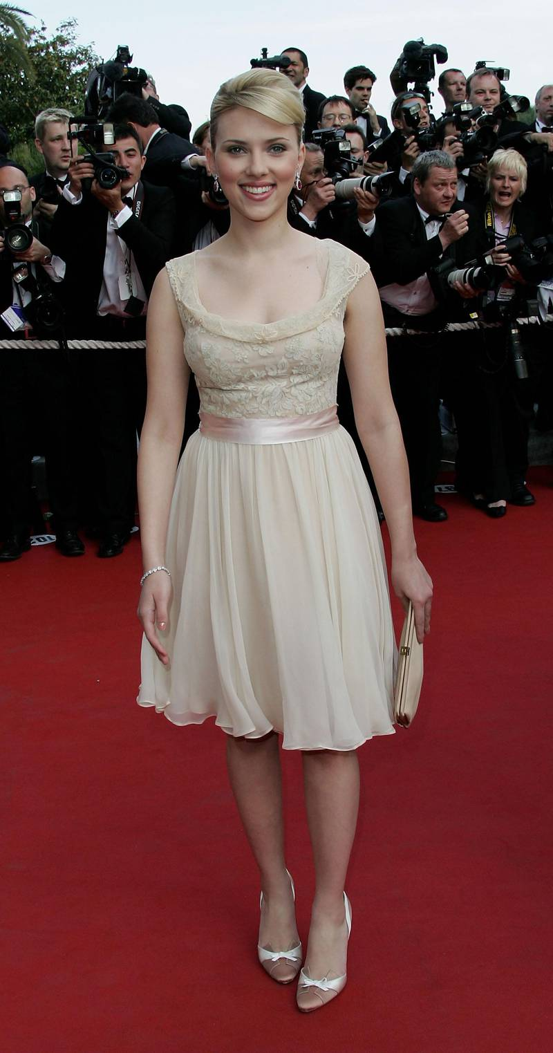 """CANNES, FRANCE - MAY 12:  Actress Scarlett Johansson attends the premiere of the film """"Match Point"""" at the Palais during the 58th International Cannes Film Festival May 12, 2005 in Cannes, France.  (Photo by MJ Kim/Getty Images)"""