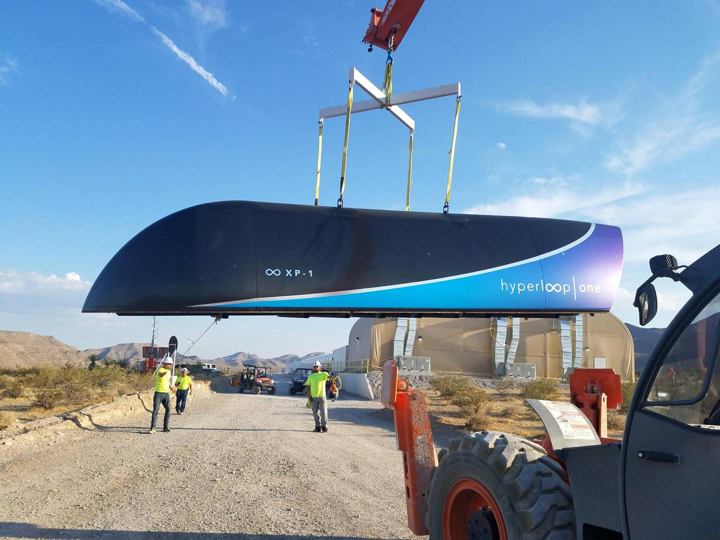 """This image released by Hyperloop One shows the first Prototype of Hyperloop One Pod on July 12, 2017. US startup Hyperloop One announced the first successful full-systems test of its near-supersonic rail transit system.  / AFP PHOTO / Weber Shandwick PR / HO / RESTRICTED TO EDITORIAL USE - MANDATORY CREDIT """"AFP PHOTO / Weber Shandwick PR"""" - NO MARKETING NO ADVERTISING CAMPAIGNS - DISTRIBUTED AS A SERVICE TO CLIENTS"""