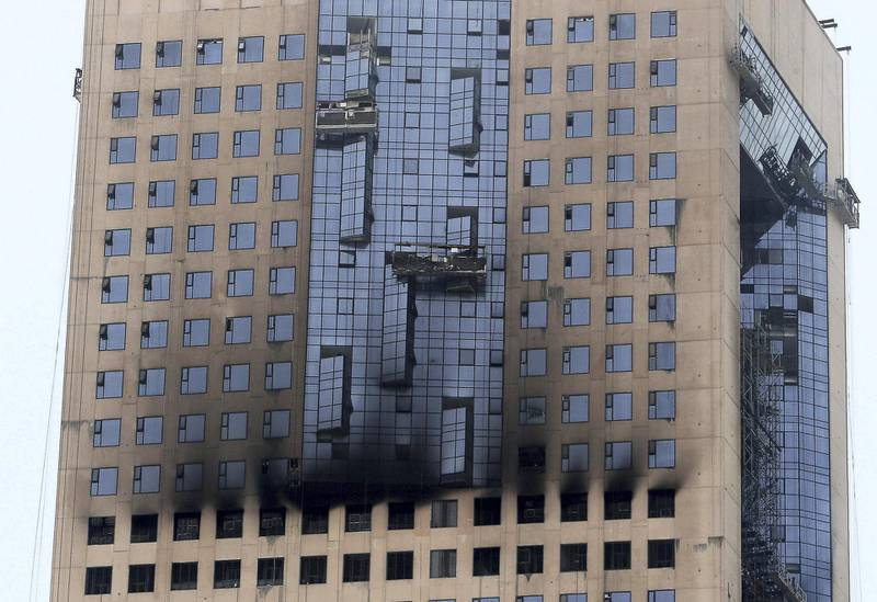 Fire broke out in the morning at the under construction building at the Sharjah's waterfront in Taawun area in Sharjah on June 17,2021. Pawan Singh / The National.