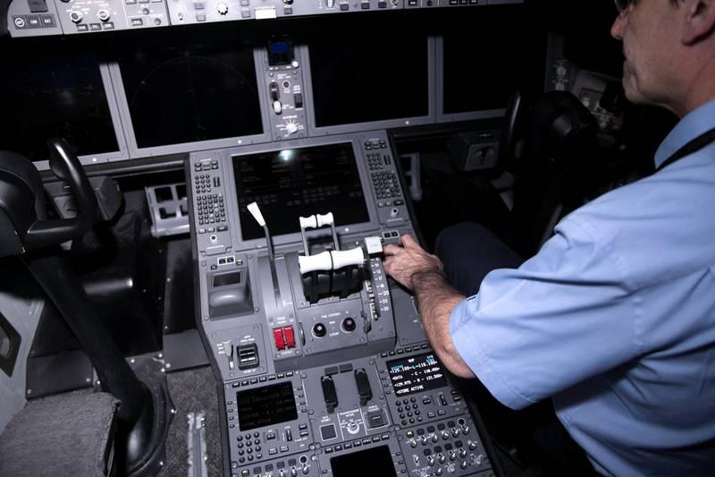 ABU DHABI, UNITED ARAB EMIRATES - JUNE 26 2019.Boeing 787 flight simulators at Etihad Aviation Training (EAT).Photo by Reem Mohammed/The National)Reporter: Section: BZ